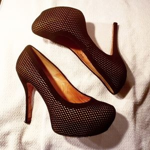 L.A.M.B. size 10 Leather & Suede Fishnet Heels
